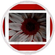 Stylized Daisy With Red Border Round Beach Towel