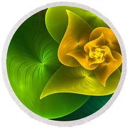 Stylized Philodendron Round Beach Towel