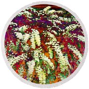 Stylized Spirea - Flowering Plant - Gardener Round Beach Towel