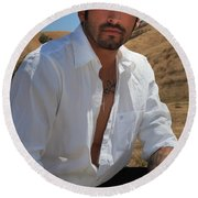 Suave Round Beach Towel by Laurie Search
