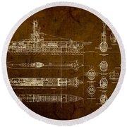 Submarine Blueprint Vintage On Distressed Worn Parchment Round Beach Towel