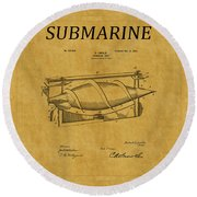 Submarine Patent 3 Round Beach Towel