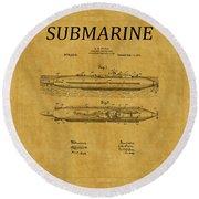 Submarine Patent 7 Round Beach Towel