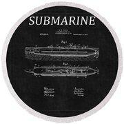 Submarine Patent 8 Round Beach Towel