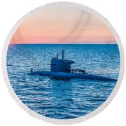 Submarine Sunset Round Beach Towel