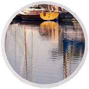 Subtle Colored Marina Reflections Round Beach Towel