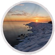 Subtle Pinks And Golds And Violets In A Bright Sunrise Round Beach Towel