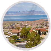 Suburbs And Lake Mead With Surrounding Round Beach Towel