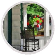 Suburbs - Porch With Rocking Chair And Geraniums Round Beach Towel by Susan Savad
