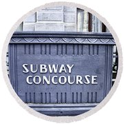 Subway Concourse At City Hall Round Beach Towel