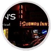 Subway Inn Bar - Vanishing Places Of New York Round Beach Towel