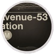 Subway Station Sign Round Beach Towel