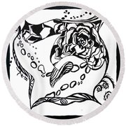 Succulent Stream Of Consciousness Round Beach Towel by Beverley Harper Tinsley