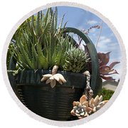 Succulents In A Planter Round Beach Towel