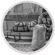 Such A Long Journey Bw Round Beach Towel