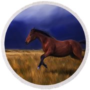 Galloping Horse Painting Round Beach Towel