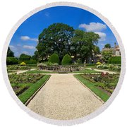 Sudeley Castle Gardens In The Cotswolds Round Beach Towel