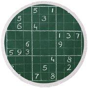 Sudoku On A Chalkboard Round Beach Towel