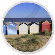 Suffolk Beach Huts Round Beach Towel