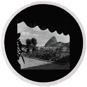 Sugarloaf Mountain Seen From The Patio At Carlos Round Beach Towel