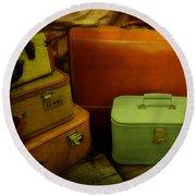 Suitcases In The Attic Round Beach Towel
