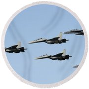 Sukhoi Su-30 Mkm Aircraft And Fa-18 Round Beach Towel