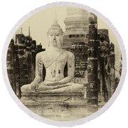 Buddha Sukhothai Thailand 1 Round Beach Towel