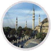 Suleymanhe Mosque, The Bizaar Quarter Round Beach Towel