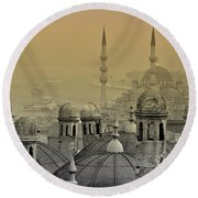 Suleymaniye Mosque And New Mosque In Istanbul Round Beach Towel