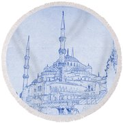 Sultan Ahmed Mosque Istanbul Blueprint Round Beach Towel