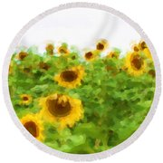 Sultry Sunflowers Round Beach Towel