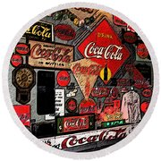 Sumi-e Styled Coca Cola Signs Round Beach Towel
