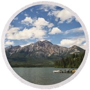 Summer At Pyramid Lake Round Beach Towel