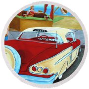 Cruising The Beach Round Beach Towel