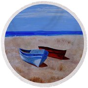 Summer Boats Round Beach Towel
