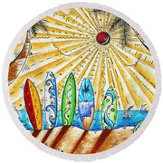 Summer Break By Madart Round Beach Towel by Megan Duncanson