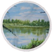 Summer By The River Round Beach Towel