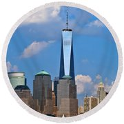 Summer Cityscape Nyc  Round Beach Towel
