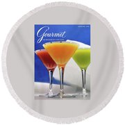 Summer Cocktails Round Beach Towel