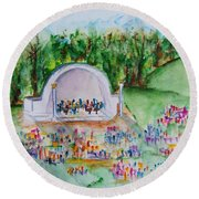 Summer Concert In The Park Round Beach Towel