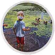 Summer Day At The Pond Round Beach Towel