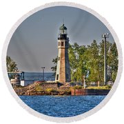 Summer Day View Of The Lighthouse  Round Beach Towel