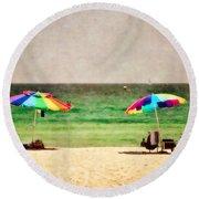 Summer Days At The Beach Round Beach Towel