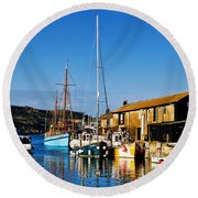 Summer Evening At The Harbour Round Beach Towel