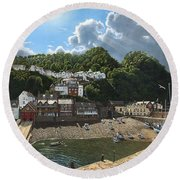 Summer Evening Clovelly North Devon Round Beach Towel