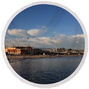 Summer Evenings In Santa Cruz Round Beach Towel by Laurie Search