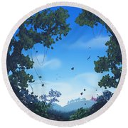 Summer Fields Round Beach Towel