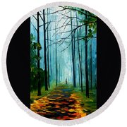 Summer Forest - Palette Knife Oil Painting On Canvas By Leonid Afremov Round Beach Towel