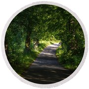 Summer Forest Road Round Beach Towel