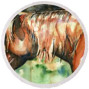 Horse Painting In Watercolor Summer Horse Round Beach Towel